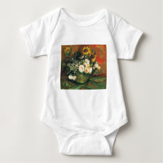 """""""Vase with Sunflowers, Roses and Other Flowers"""" Baby Bodysuit"""