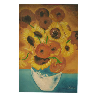 Vase with  Sunflowers van Gogh Wood Wall Decor