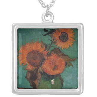 vase with three sunflowers, van Gogh Silver Plated Necklace