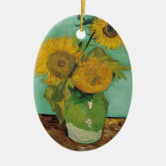 Vase with three sunflowers, Vincent van Gogh Christmas Ornament