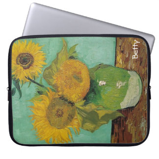 Vase with three sunflowers, Vincent van Gogh Computer Sleeves