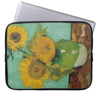 Vase with three sunflowers, Vincent van Gogh Laptop Sleeve