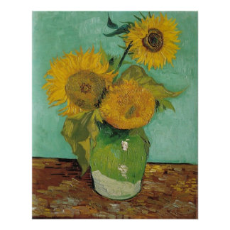 Vase with three sunflowers, Vincent van Gogh Poster