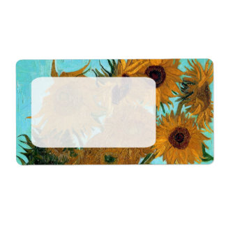 Vase with Twelve Sunflowers by Vincent van Gogh Shipping Label