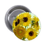 Vase with Twelve Sunflowers, Van Gogh Fine Art 6 Cm Round Badge