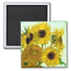 Vase with Twelve Sunflowers, Van Gogh Fine Art Magnet