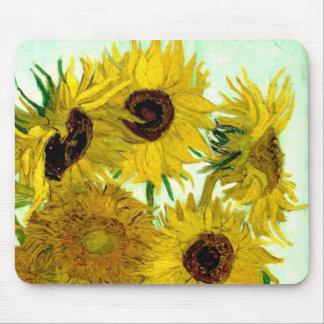 Vase with Twelve Sunflowers, Van Gogh Fine Art Mouse Mat