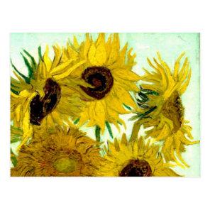 Vase with Twelve Sunflowers, Van Gogh Fine Art Postcard