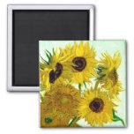 Vase with Twelve Sunflowers, Van Gogh Fine Art Square Magnet