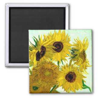 Vase with Twelve Sunflowers, Van Gogh Fine Art Square Magnet
