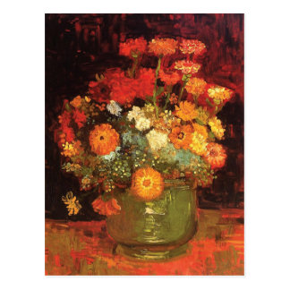 Vase with Zinnias by Vincent Van Gogh Postcard