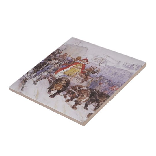 Vasily Surikov- Big masquerade Small Square Tile