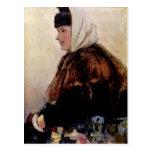 Vasily Surikov-Portrait of young woman in fur coat