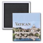 Vatican City Seen from Tiber River text   VATICAN Square Magnet