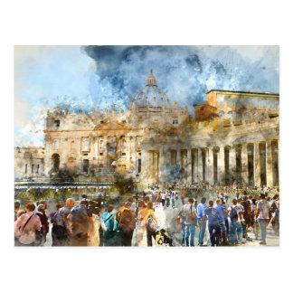 Vatican in  Rome Watercolor Postcard