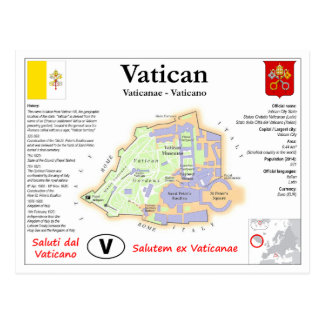 Vatican Map Postcard