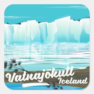 Vatnajökull iceland travel poster square sticker