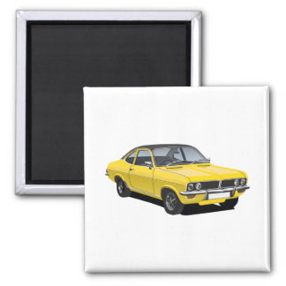 Vauxhall Firenza,  yellow + black vinyl roof Square Magnet