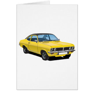 Vauxhall Firenza yellow, with black roof Card