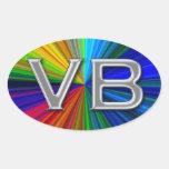 VB Virginia Beach Psychodelic Colours Oval Logo Oval Stickers