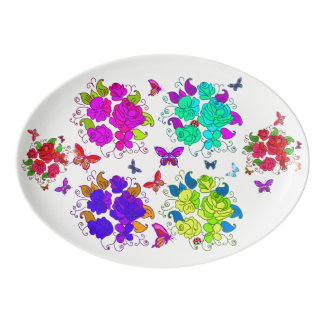Vector Abstract Flowers and Butterflies Porcelain Serving Platter