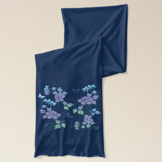Vector Abstract Flowers Butterflies with  Flowersl Scarf
