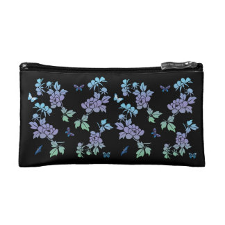 Vector abstract flowers with butterflys makeup bags