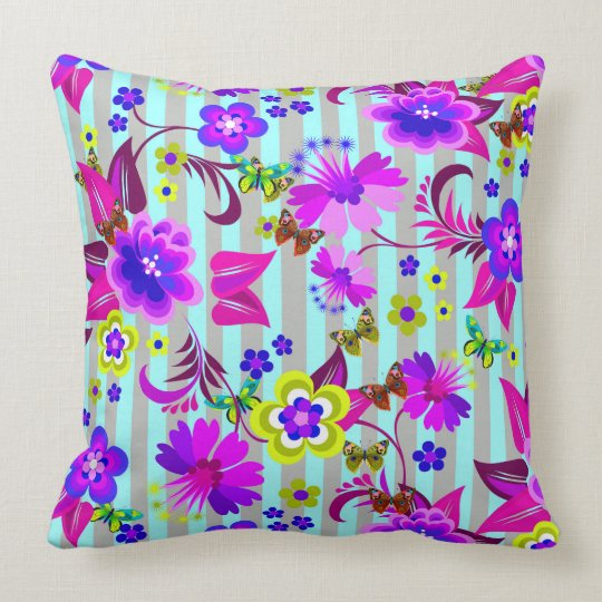 Vector abstract flowers with buutterflies cushion