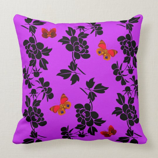 Vector abstract flowers with red buutterflies throw pillow