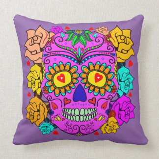 Vector - Abstract  Skull with roses Throw Pillow