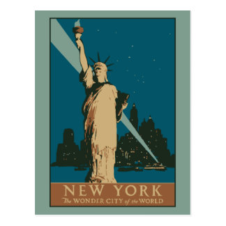 Vector Art Deco New York Wonder City Postcard