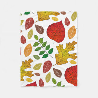 Vector autumn doodles seamless pattern with leaves fleece blanket
