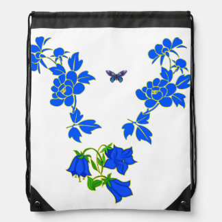 Vector Beautiful blue Butterfly with Blue flowers Drawstring Bag