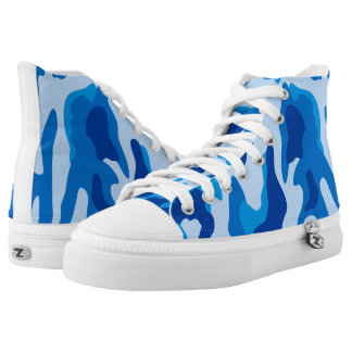 Vector Blue Camouflage Pattern Printed Shoes