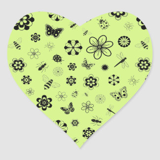 Vector Bugs Flowers Grass Green Heart Sticker