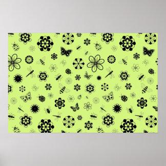 Vector Bugs & Flowers (Grass Green) Print