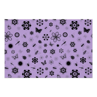 Vector Bugs & Flowers (Lilac Purple Background) Poster