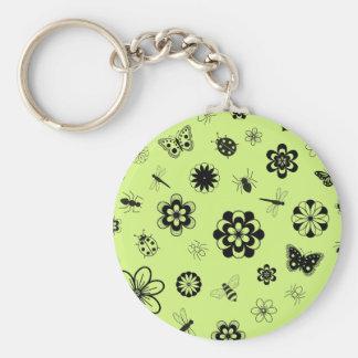 Vector Bugs & Flowers (Version B Grass Green) Keychain