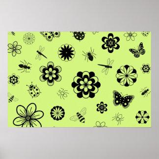 Vector Bugs & Flowers (Version B Grass Green) Print
