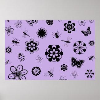 Vector Bugs & Flowers (Version B Lilac Purple) Print