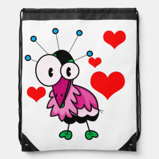 Vector  Cartoon  Bird with hearts Drawstring Bag
