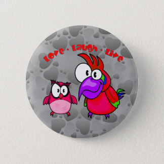 Vector Cartoon Birds with text Love Laugh Live 6 Cm Round Badge