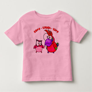 Vector Cartoon Birds with text Love Laugh Live Toddler T-Shirt