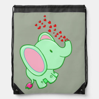 Vector cartoon Elephant,spraying hearts Drawstring Bag
