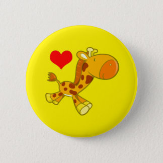 Vector Cartoon  giraffe with heart 6 Cm Round Badge