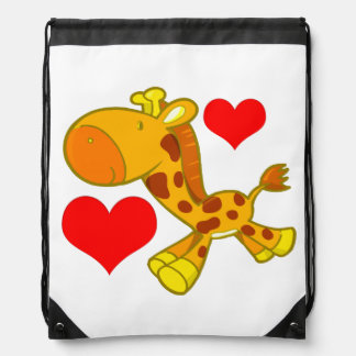Vector Cartoon  giraffe with hearts Drawstring Bag