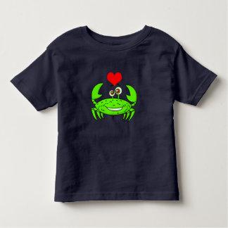 Vector Cartoon  green Crab with heart Toddler T-Shirt