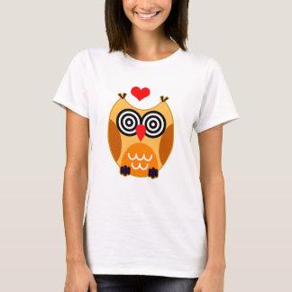 Vector  Cartoon Owl with hearts T-Shirt