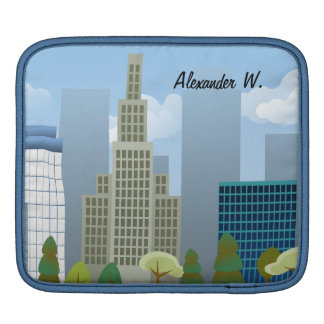Vector City Scene Personalized iPad or Tablet Case iPad Sleeve