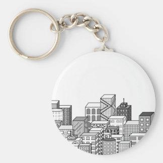 Vector Cityscape (Black & White) Key Chains